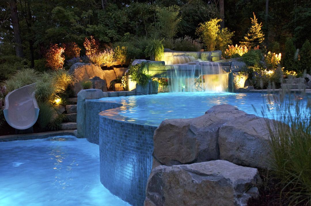 aqua pearl pool fiber optic vanishing edge inground swimming pool